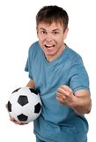Man with classic soccer ball Royalty Free Stock Photography