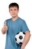 Man with classic soccer ball Stock Image