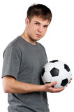 Man with classic soccer ball Royalty Free Stock Photo