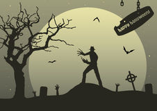 Man with claws on upland on halloween royalty free stock photo