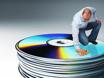 Man clean cd Stock Photography