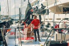man clean Luxury Yachts in Saint-Tropez stock photos