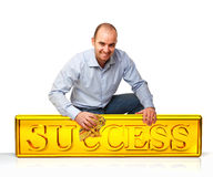 Man clean success plate Stock Photos