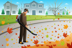 Man Clean Up Leaves During Fall Season Using a Blower. A vector illustration of man using blower to clean up leaves during fall season using a blower royalty free illustration