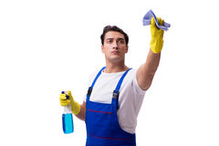 The man with cleaning agents isolated on white background stock photography