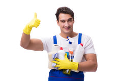 The man with cleaning agents isolated on white background royalty free stock image