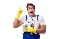 The man with cleaning agents isolated on white background Stock Photo