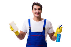 The man with cleaning agents isolated on white background Stock Images