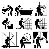 Man Cleaning Bathroom Toilet Windows and Mirror Clipart. Set of vector stick man pictogram representing washing and cleaning the toilet, mirror, and windows with Stock Photography