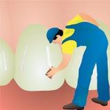 Man cleaning big white teeth. Man worker dentist cleaning big white teeth Stock Photo