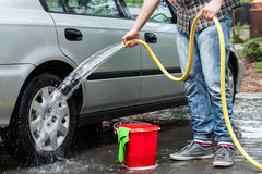 Man cleaning car Royalty Free Stock Image