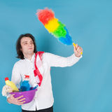 Man with cleaning equipment Royalty Free Stock Image