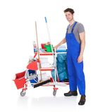 Man with cleaning equipment Stock Image