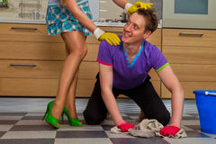 Man cleaning floor Stock Image