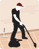 Man cleaning the floor  Stock Photography