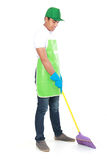 Man cleaning floor Stock Photo