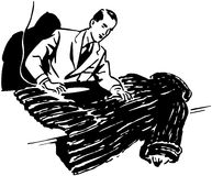 Man Cleaning Fur Coat Stock Images