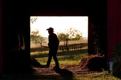 Man cleaning horse barn silhouetted in doorway royalty free stock image