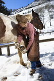 Man Cleaning a Horse Hoof. Man wearing a cowboy hat cleans out a horse hoof in the snow. Vertical shot Stock Image