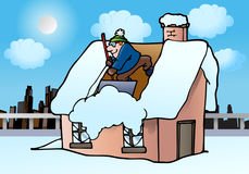 Man cleaning house roof burried under white snow. Illustration of a man Shoveling Out snow cleaning house roof buried under white snow in winter Stock Images