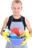 Man with cleaning supplies Royalty Free Stock Photo