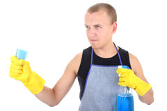 Man with cleaning supplies Royalty Free Stock Images