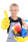 Man with cleaning supplies giving thumbs up Stock Image