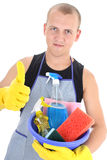 Man with cleaning supplies giving thumbs up Royalty Free Stock Images