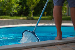 Man cleaning the swimming pool. Net, closeup Royalty Free Stock Photography