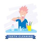 Man cleaning teeth. Beautiful white teeth smile. Stock Photos
