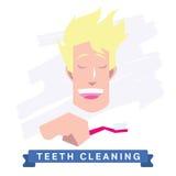 Man cleaning teeth. Beautiful white teeth smile. Royalty Free Stock Photos