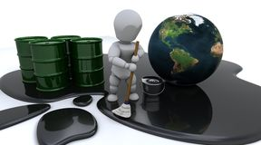 Man cleaning up oil spill. 3D render of a man cleaning up oil spill stock illustration