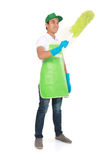 Man cleaning using Soft duster. Portrait of man cleaning using Soft duster Royalty Free Stock Images