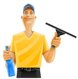 Man cleaning window squeegee spray Stock Photo