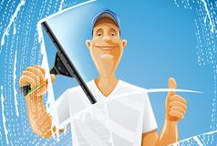 Man cleaning window squeegee spray Royalty Free Stock Photo
