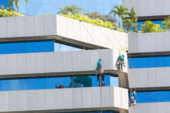 Man cleaning windows on a high rise building Stock Photography