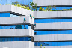 Man cleaning windows on a high rise building Stock Images