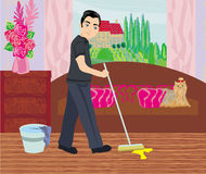 Man cleans up after dog Royalty Free Stock Photo