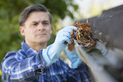 Man Clearing Leaves From Guttering Of House Royalty Free Stock Images