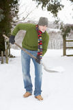 Man Clearing Snow From Drive Royalty Free Stock Photos