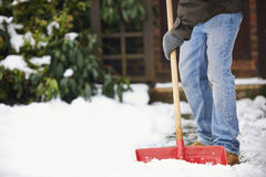 Man Clearing Snow From Path With Shovel Stock Image