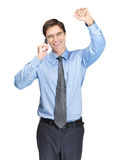 Man with clenched fist speaking over mobile Royalty Free Stock Photos
