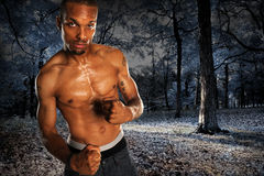 Man With Clenched Fists. African American man with clenched fists over dark landscape Stock Images