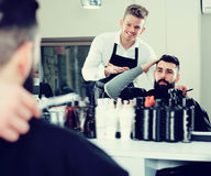 Man client discussing his future haircut Stock Photography