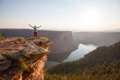 Man on the cliff. In Flaming Gorge Recreation Area,USA Stock Photography