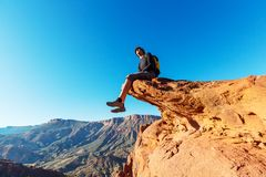 Man on the cliff Royalty Free Stock Image