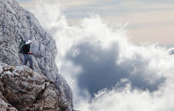Man on the cliff Stock Photography