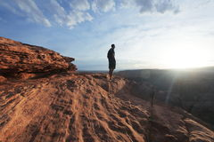 Man on the cliff Stock Photos