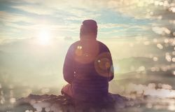 Man on the cliff. Man on the sheer cliff Royalty Free Stock Image