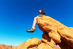 Man on the cliff Stock Photos